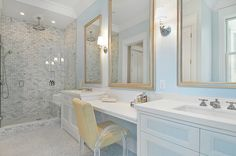 House of Turquoise: Bathroom  Painted panel on cabinet fronts