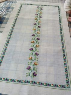 Hand embroidered table runner cross-stitch table by RugsNBags Cross Stitch Art, Cross Stitching, Cross Stitch Embroidery, Hand Embroidery, Cross Stitch Patterns, Embroidery Patterns Free, Bargello, Needle And Thread, Needlepoint
