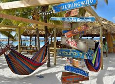 Hammocks on the beach and live musical performances help create a laid-back vibe at Lions Dive and Beach Resort in #Curacao. // © 2014 TravelAge West/Lions Dive and Beach Resort