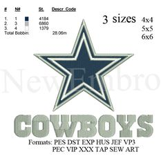 Dallas cowboys star logo embroidery design embroidery pattern No 380 - 3 sizes   4 x 4 inch 5 x 5 inch 6 x 6 inch  Formats Available: PES DST EXP HUS JEF PEC VIP XXX TAP SEW ART VP3  This design is available for instant download after your payment is confirmed.  These are machine embroidery designs. You need access to an embroidery machine to stitch these designs . and the appropriate hardware/software to view and transfer my designs to your embroidery machine.  These designs CAN be stit...