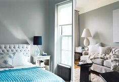 Love the white, black and turquoise mixed with incredible textures - - makes the gray feel so inviting and warm.