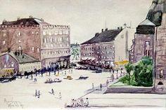 Björn Nygren, akvarelli 1929.  Rautatieaseman aukio.