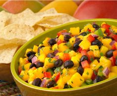 Mango and black bean salsa:  1 Mango, diced  1 can of black beans, rinsed  1 handful of bell pepper, diced  1 handful of red onion, diced  1 handful of chopped cilantro  Juice of a lime  s