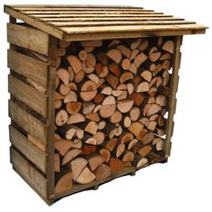 Log Store stacked with Kiln Dried Logs ~ Looks like you could construct something similar with pallets / Berties Wood Fuel