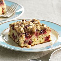 Overnight Cranberry Coffee Cake Between the spelt flour, antioxidant blueberries, and almonds, this coffee bread is practically health food. Spelt is a high-protein cereal grain with a mellow, nutty flavor. Look for it at health food stores.