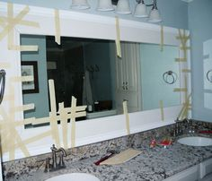 Hers. Our budget was pretty maxed out after the installation of the granite and new shower so when we got around to the mirror, I knew we had to get creative. I'll flash you back to the befor…