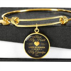 A Big Piece Of My Heart Lives in Heaven My Grandpa Memorial Circle Bra - Snappy Creations Bangle Bracelets, Bangles, In Memory Of Dad, Always On My Mind, Love Dad, Faux Fur Boots, Your Soul, You Are Amazing, Always And Forever