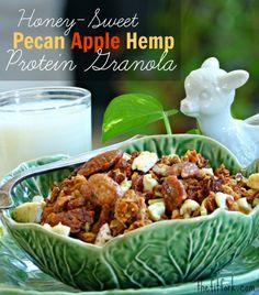 Honey-Sweet Pecan Apple Hemp Protein Granola recipe, a crunchy healthy idea for breakfast . . . or a bedtime snack!