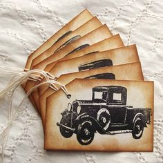 Old Truck Tags - Classic Pickup in Black, Hand Aged, Vintage Inspired, Stamped. $3.75, via Etsy.