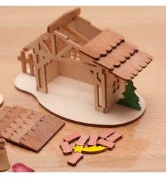Knutsel kerststal - Houtspel - Duurzaam houten speelgoed