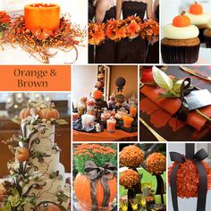 Orange and Brown Wedding Colors - Orange and brown is a fall combination that offers a lot of décor options. #orangeandbrownwedding