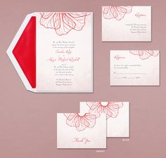 Cherry Red Floral Petals Wedding Invitations By Birchcraft! Click Pic To  Order!