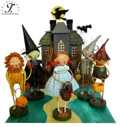 Lori Mitchell's Wizard of Oz trick or treat figures!  We made our own yellow brick road, added a spooky Halloween house and voila!