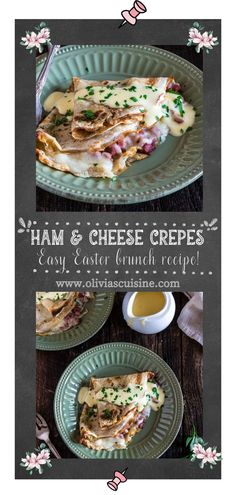 These Ham and Cheese Savory Crepes are beyond fantastic, easy to make and will take breakfast or brunch to a whole new level. This easy crepe recipe is loaded with ham, plenty of cheese and topped with a creamy hollandaise sauce. They are the best! Prefect for Easter Brunch this year, or even for Mother's Day! #crepes #hamandcheese Easy Crepe Recipe, Crepe Recipes, Brunch Recipes, Fall Recipes, Dinner Recipes, Dessert Recipes, Ham And Cheese Crepes, Savory Crepes, Easy French Recipes