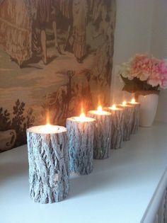 Shabby Chic Tree Candles Rustic Centerpiece by kimberlyklinedesign, $22.00