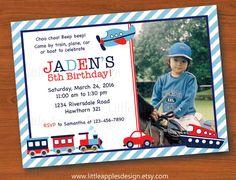Transportation Invitation / Transportation Birthday / Car, Train, Plane, Boat Birthday party by LittleApplesDesign