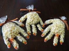 creepy popcorn hands.  #halloween  love it! great for kids on gfcf diet or #gluten allergies to celebrate Halloween! :)