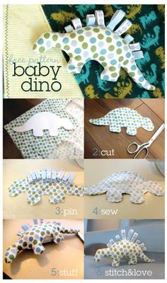 BABY DINO SOFT TOY PATTERN. Easy to make! Use looped ribbons for the plates. Could insert a tummy-legs-neck panel to create a dino with four legs that stands up. Free downloadable pattern at http://thecistudio.com/mae/baby-dino-pattern.pdf
