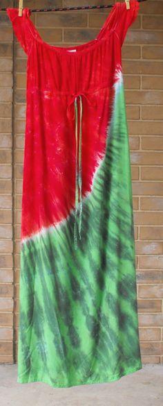 Watermelon Dress Tie Dye Regency Hippie Dress by inspiringcolor, $40.00