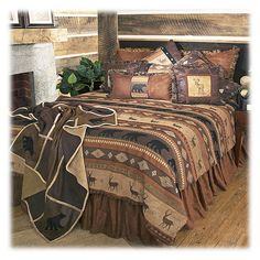 Rustic Cabin Lodge Bedding Set Deer Bear Autumn Trails Twin Queen King in Home… Rustic Comforter Sets, Rustic Bedding, Queen Comforter Sets, Luxury Bedding Sets, King Comforter, Camo Bedding, Country Bedding, Fall Home Decor, Autumn Home