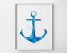 Blue Watercolor Anchor Print by Loftipop