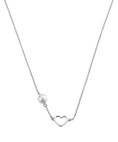 Necklace Pearl & Heart 39/42cm
