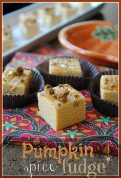Pumpkin Spice Fudge- easy fudge made with #jello pumpkin spice pudding mix. @shugarysweets #fallbaking