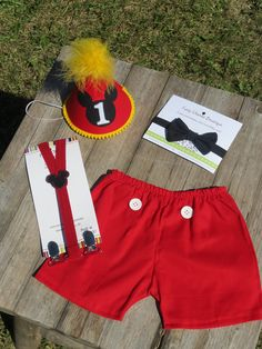 Baby / Boy Toddler Party Hat Bowtie & Boxers First Birthday Photo Cake Smash Outfit in Mickey Mouse Red and Yellow. $43.85, via Etsy.
