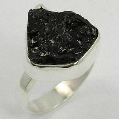 Natural BLACK TOURMALINE Rough Gemstone 925 Sterling Silver Ring Size US 8.75 #Unbranded Black Tourmaline Ring, Tourmaline Gemstone, Sterling Silver Jewelry, Silver Rings, Silver Jewellery Indian, Delicate Rings, Gemstones, Natural, Watches