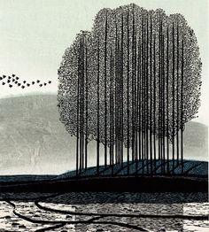 A Winter Song, woodcut by Chinese artist, Shi Yi