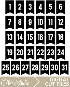 Number Pennants Digital Cut File by Elle's Studio perfect for December Daily! Free Printable Numbers, Printable Stickers, Printable Planner, Planner Stickers, Bubble Numbers, Bullet Journal 2, Elle Studio, Journal Template, Christmas Paper Crafts