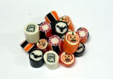 Halloween Candy & Lollies | Orange and Black Rock Candy - Pink Frosting Party Shop