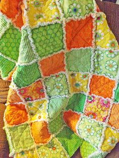 Girls Rag Quilt, Bright Orange, Green, and Yellow Cotton Fabrics, Lap Quilt.