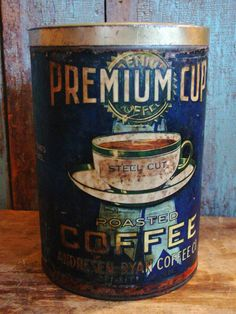 Reserved for Robin Antique 3 lb Premium Cup Coffee Tin Duluth Minn Coffee Jars, Coffee Tin, Coffee Shop, Vintage Tins, Vintage Coffee, Vintage Kitchen, Antique Coffee Grinder, Coffee Grinders, Vintage Packaging