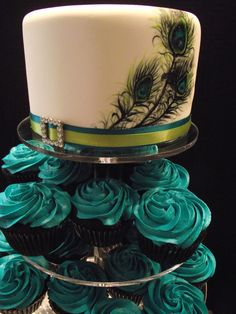 peacock bridal shower cakes | Hand Painted Peacock Feather Wedding Cake with Teal Buttercream ...
