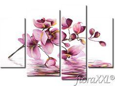 Σύγχρονη λουλούδια ζωγραφική Ροζ - ορχιδέες - Zoom
