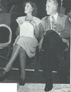 Another photo of our 2 darlings seated close together that their arms just have to be touching! There's another empty chair there but they just prefer to sit that way. I think this is another radio rehearsal - ESCANO COLLECTION