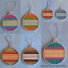 This pattern from Quick & Easy Magazine was perfect for creating hangable Christmas tree decorations in a variety of colours. I made these in cross stitch on a14ct plastic canvas square using whatever stranded cotton threads I had that I thought look good together. Then I cut very carefully around the bauble leaving one line of canvas intact all round, some of which I oversewed in white perle.