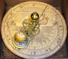 Hand-cranked 1794 orrery, showing movements of Mercury, Venus, and Earth around the Sun, and the Moon around the Earth