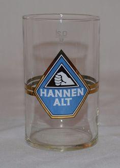Vintage Hannen Alt German Beer Glass 0.2L Blue & Gold Logo Bar Pub Tavern  #HannenAlt