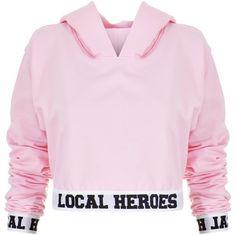Local Heroes LH Cropped Hoodie ($79) ❤ liked on Polyvore featuring tops, hoodies, pink hoodies, cropped hoodies, hoodie top, cut-out crop tops and pink top