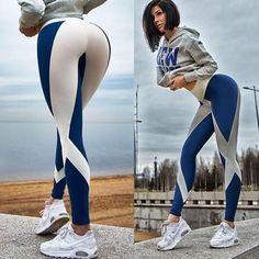 Patchwork-Gamaschen-lange Hosen-hohe Taillen-Eignungs-Hosen-Dame Push Up Workout Leggings Blue S Sports Trousers, Sports Leggings, Workout Leggings, Workout Pants, Women's Leggings, Sparkly Leggings, Funky Leggings, Sports Shirt, Cotton Leggings
