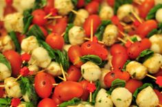 Wine Party ideas. Caprice Salad Skewers. Party Food ideas. Wine and cheese. tomatoes basil and mozzarella.