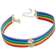 Inc International Concepts Gold-Tone Rainbow Ribbon Pineapple Choker... (160 DKK) ❤ liked on Polyvore featuring jewelry, necklaces, accessories, chokers, rainbow, gold tone necklace, multi colored necklace, gold colored necklace, choker necklace and pineapple jewelry