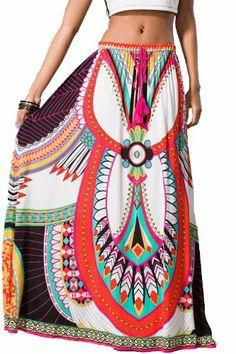 2f3e79b3b40f Amazon.com  Womens Sexy White Pink Blue Ethnic Tribal Print Full Long Boho  Gypsy