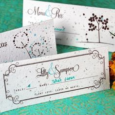 Available in a choice of nine designs, these plantable seed place card favors make a lot of sense to me. Made of biodegradable paper embedded with wildflower seeds, these place cards are a must to help your guests easily find their seats.  #PlantableSeedPlaceCard #PlantableSeedCardFavors #EcoFriendlyPlaceCards