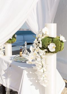 A Greek Wedding Weekend with a Private Beach + Spectacular Views Deco Floral, Floral Design, Orthodox Wedding, Event Planning Design, Centerpieces, Table Decorations, Greek Wedding, Religious Gifts, Wedding 2017