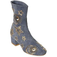 Chiara Ferragni Women 40mm Sequin Stars Denim Ankle Boots ($585) ❤ liked on Polyvore featuring shoes, boots, ankle booties, sequin boots, bootie boots, mid-heel boots, ankle boots and slip on boots