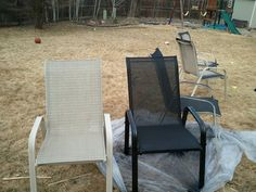 Before, after, and during pics of using rustoleum for plastic to face-lift our old, rusted sling -back chairs.  Off-white is the before, black is the after.  Now we have SIXTEEN patio chairs.  Get ready for summer parties!!!!