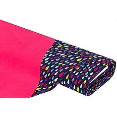 """Tissu softshell """"Raindrop"""", bleu marine/rose vif, tissu de qualité supérieure, avec dos en tissu polaire, dim. motif de gouttes : 1 - 3 cm. Le tissu est idéal pour la confection de capes, manteaux, vestes, etc.Composition : 100 % polyesterPoids : env. 300 g/m²Largeur : 145 cm"""